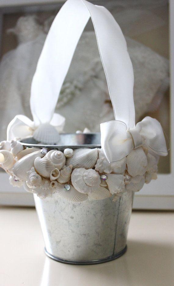 Beach wedding, flower girl pail.    Seashell Flower Girl Pail  Beach Wedding by NatasDoCeu on Etsy, $28.00