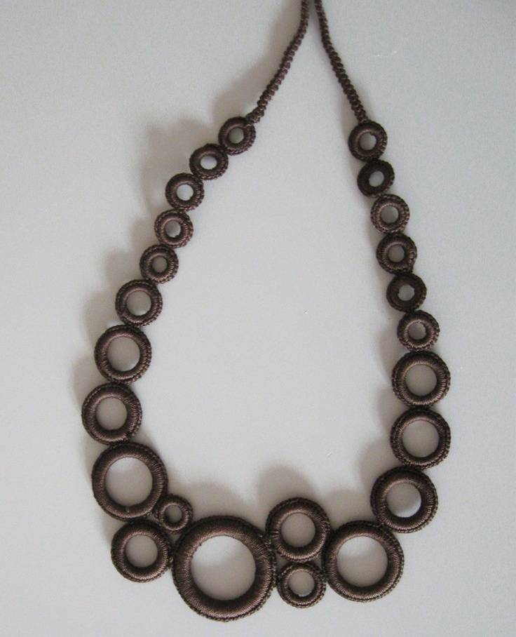 Brown Circles Crochet Necklace. $35.00, via Etsy.