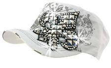 Rhinestone Stud Accented Fleur De Lis Distressed Cadet Cap Baseball Hat White