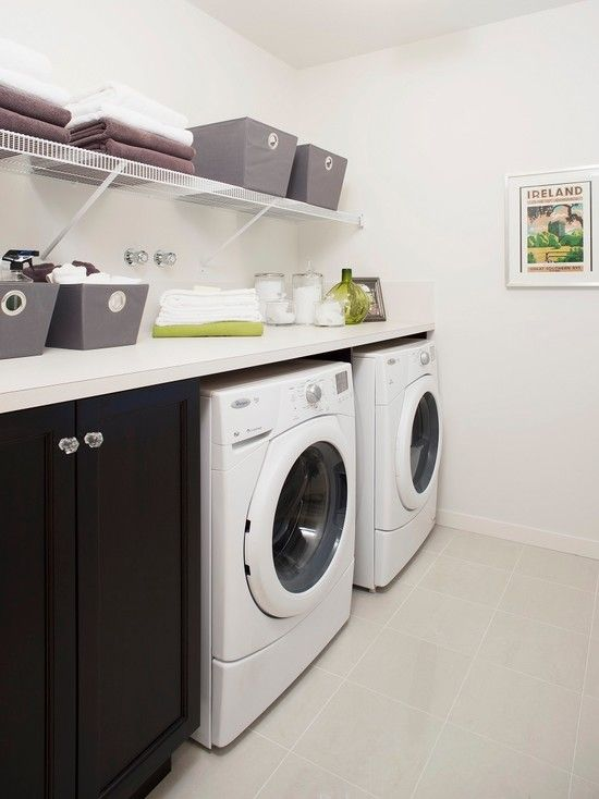 laundry room design features open shelving