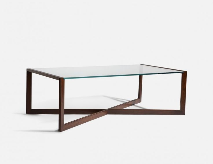 x base wood and glass coffee table