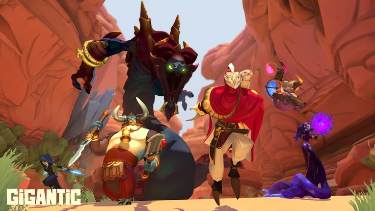 Gigantic's naga guardian slithers down the canyon map, with (from left) Tripp, Lord Knossos, Tyto the Swift, Uncle Sven, and Xenobia leading the way.