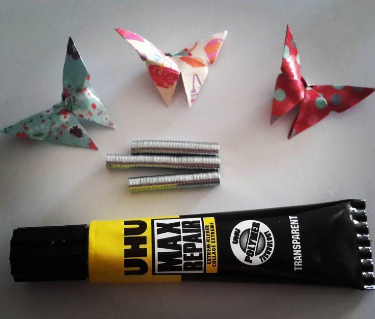 Que la colle forte soit avec moi! Bon 4 juillet! #handmade #faitmain #origami #papillons #butterflies #magnet #id4 #independanceday