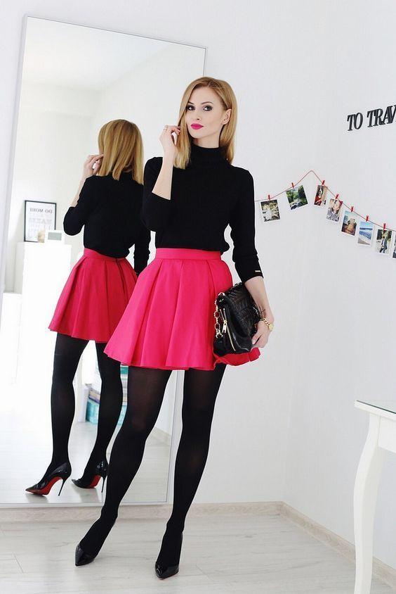 https://flic.kr/p/ET97vK | Paula Jagodzińska vision of how to wear skater skirt with black tights.
