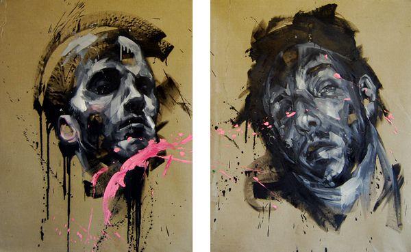 "Andrew Salgado, Saints, oil on canvas, 34x60"" total"