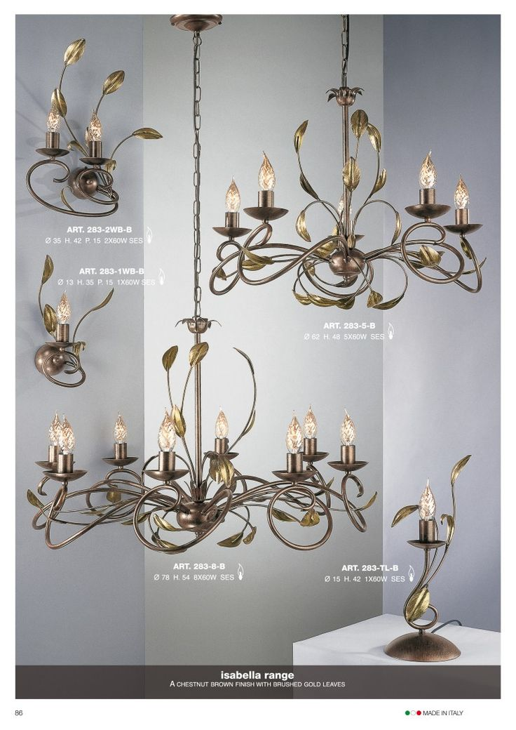 Isabella hand crafted 5 light fitting in an ivory finish brushed with gold
