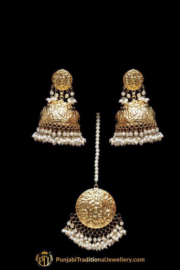 1fb1e58f9 Golden Jadau Earring Tikka Set By Punjabi Traditional Jewellery | Punjabi  Traditional Jewellery