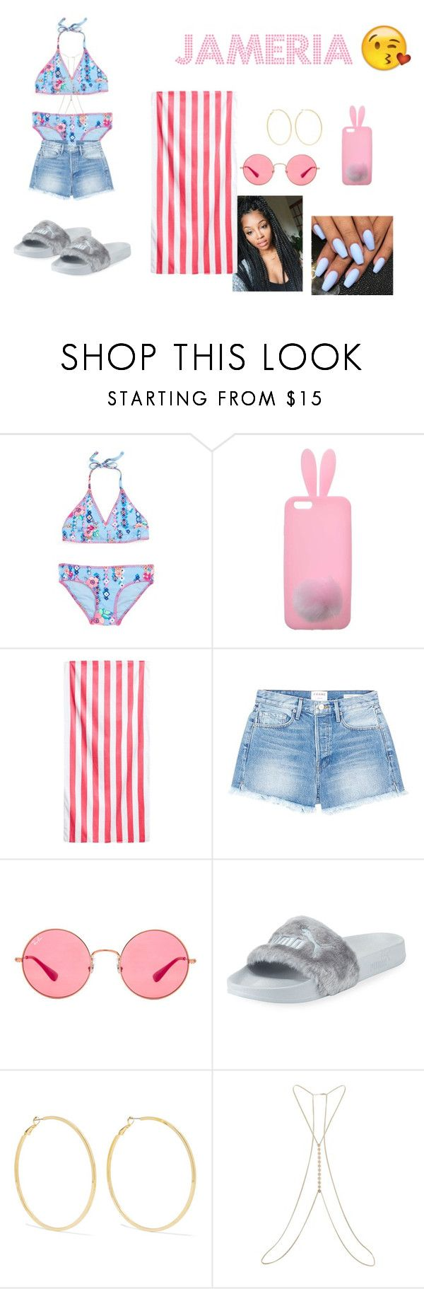 """""""Pool day outfits #4"""" by mayajoon on Polyvore featuring Miss Selfridge, Frame, Ray-Ban, Puma and Kenneth Jay Lane"""