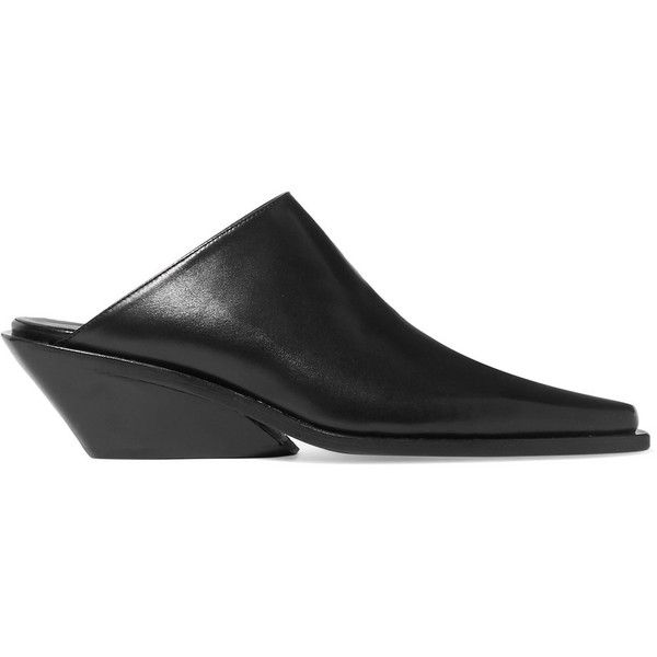 Ann Demeulemeester Leather mules (28.560 RUB) ❤ liked on Polyvore featuring shoes, kohl shoes, leather mules, slip-on shoes, cuban heel shoes and mule shoes