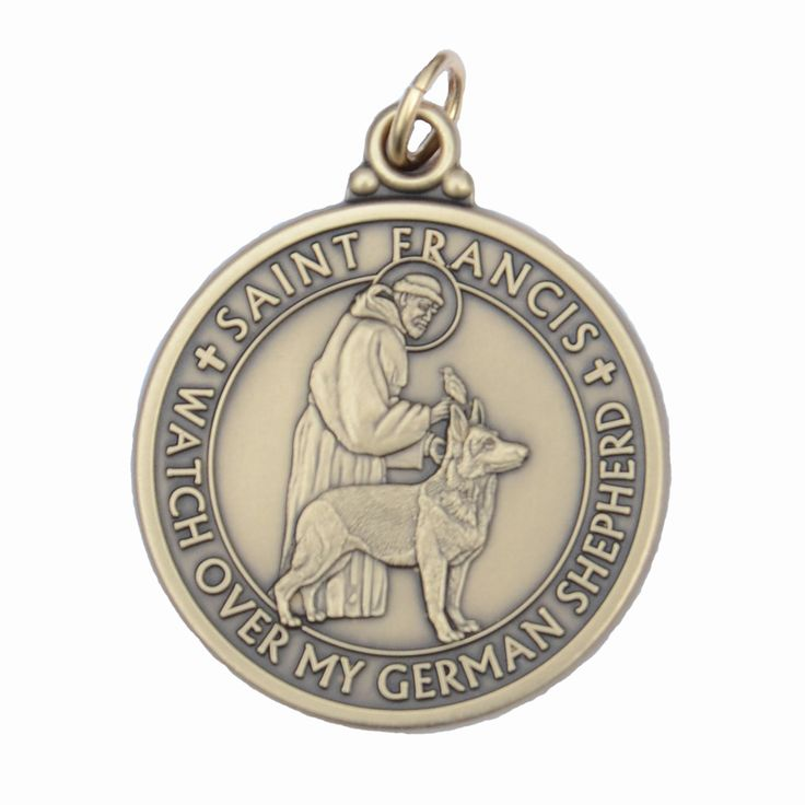 "St. Francis pet tag minted exclusively for Big Gentle Dogs. Made of brass alloy, with an antique bronze finish. Size: 1.25"" round. Backside text: ""If by chance I go astray, pray St. Francis I find my"