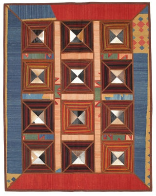 A unique kelim patchwork with detailing in leather. Buy this carpet at www.CarpetVista.com or repin if you like it.