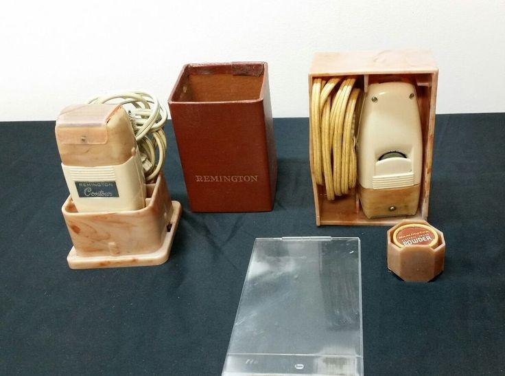 Vintage 2 Remington Rand Contour Electric Shavers Case Box for Restoration Parts