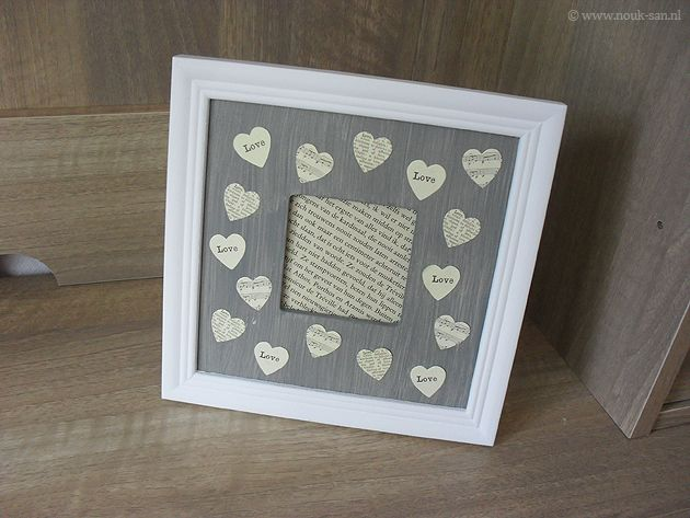 Decoration ideas for picture frames, grey, hearts, paper