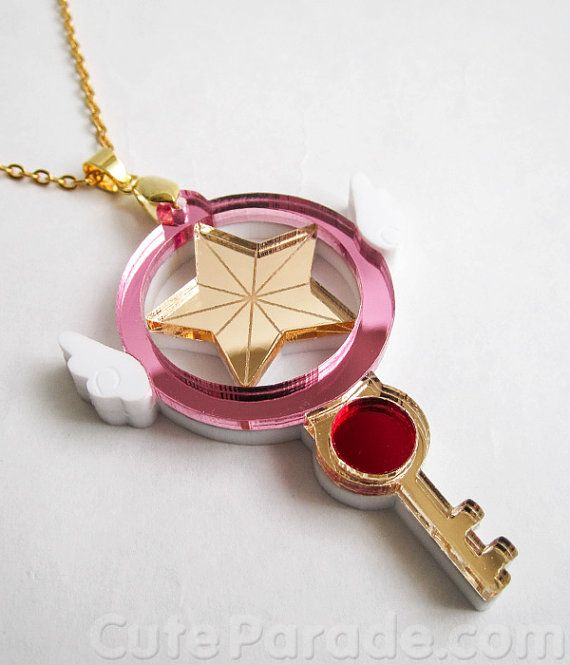 IMPERFECT Card Captor Sakura Fan Art Key of Clow Star Key Mirror Acrylic Magical Girl Necklace Ready to Ship