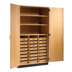 Science Classroom Storage Cabinet with 24 Trays