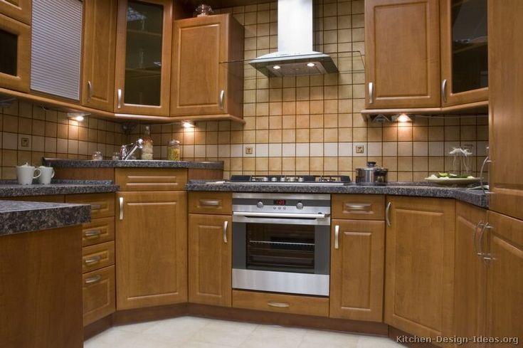 Beige Warm Tile Backsplash With Grey Countertop