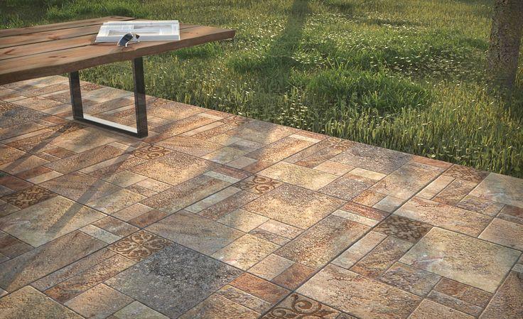 En áreas exteriores, nunca fallan los pisos en tonos ocres con patrones clásicos.