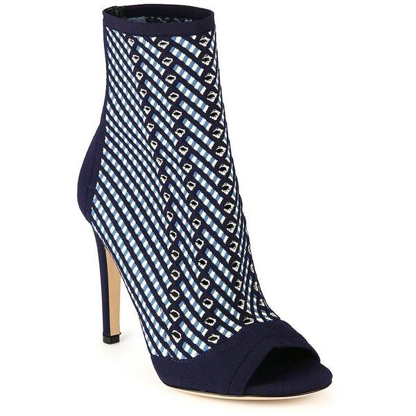 Gianvito Rossi Striped High Heel Ankle Boots ($1,095) ❤ liked on Polyvore featuring shoes, boots, ankle booties, gianvito rossi, striped boots, high heel bootie, slip on ankle boots and short boots