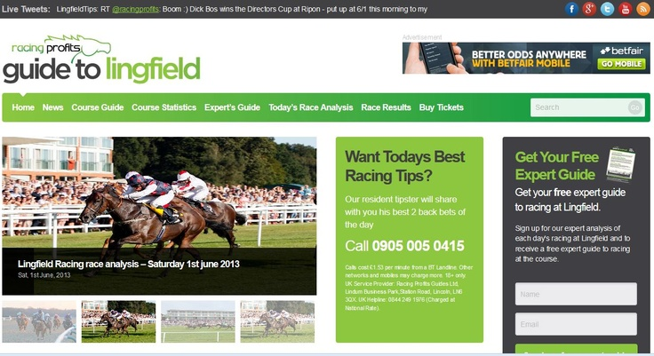 Racing Profits Guides Site #3 - Launched In January 2013 - LingfieldRacecourseTips.co.uk