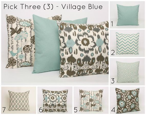 Hey, I found this really awesome Etsy listing at https://www.etsy.com/listing/169440489/set-of-3-blue-throw-pillow-covers-pick-3