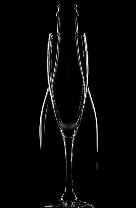 *up-light of bottle & wineglass - beautiful