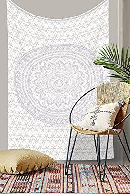 Original Silber Ombre Mandala Tapisserie Einzigartige Kollektion von rawyal Handwerk, Hippie Wandteppiche, Twin Mandala Wandbehang Wandteppich für, Überwurf Tagesdecke