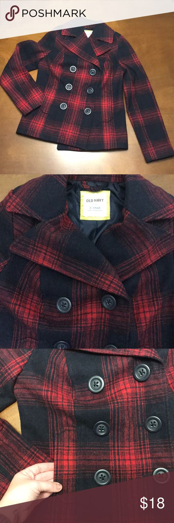 Old Navy Pea Coat Red and dark navy/blackish plaid pea coat! Six button breast and one inside button. Two front pockets! Perfect condition! Old Navy Jackets & Coats Pea Coats