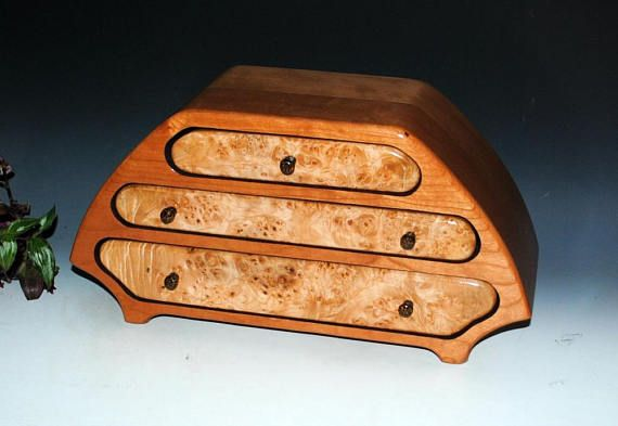 Wooden Jewelry Box Wood Jewelry Box Katie Style in Cherry and