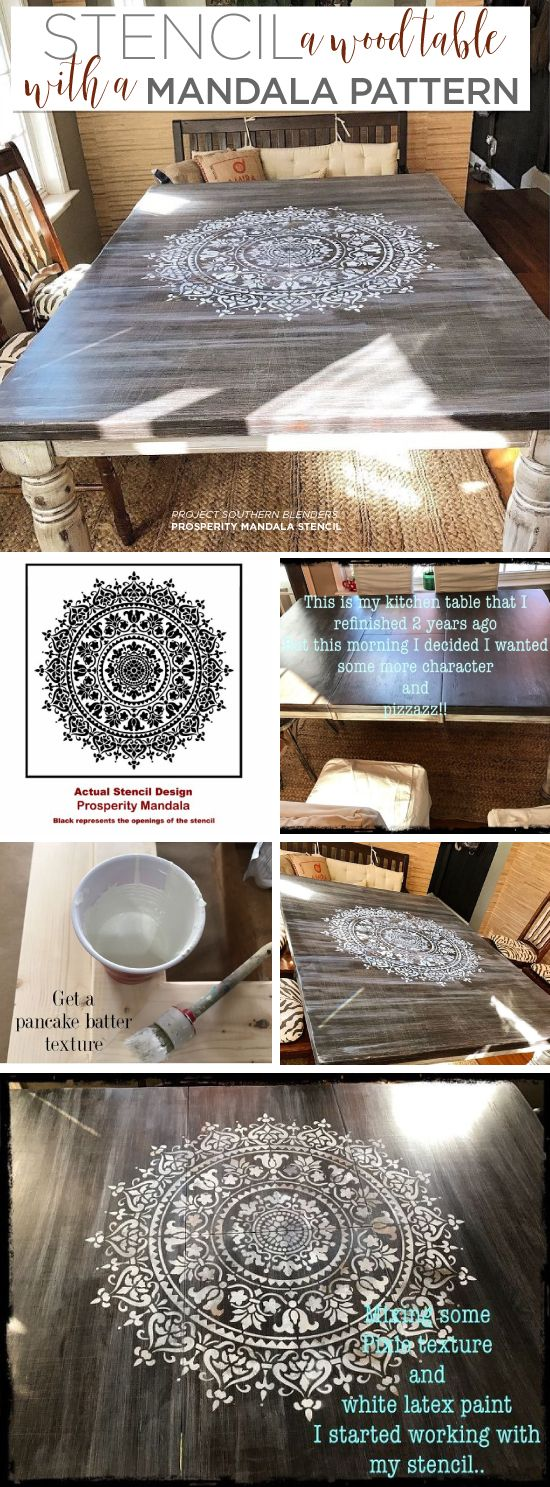 Learn how to stencil a wood kitchen table using the Prosperity Mandala Stencil from Cutting Edge Stencils. http://www.cuttingedgestencils.com/prosperity-mandala-stencil-yoga-mandala-stencils-designs.html