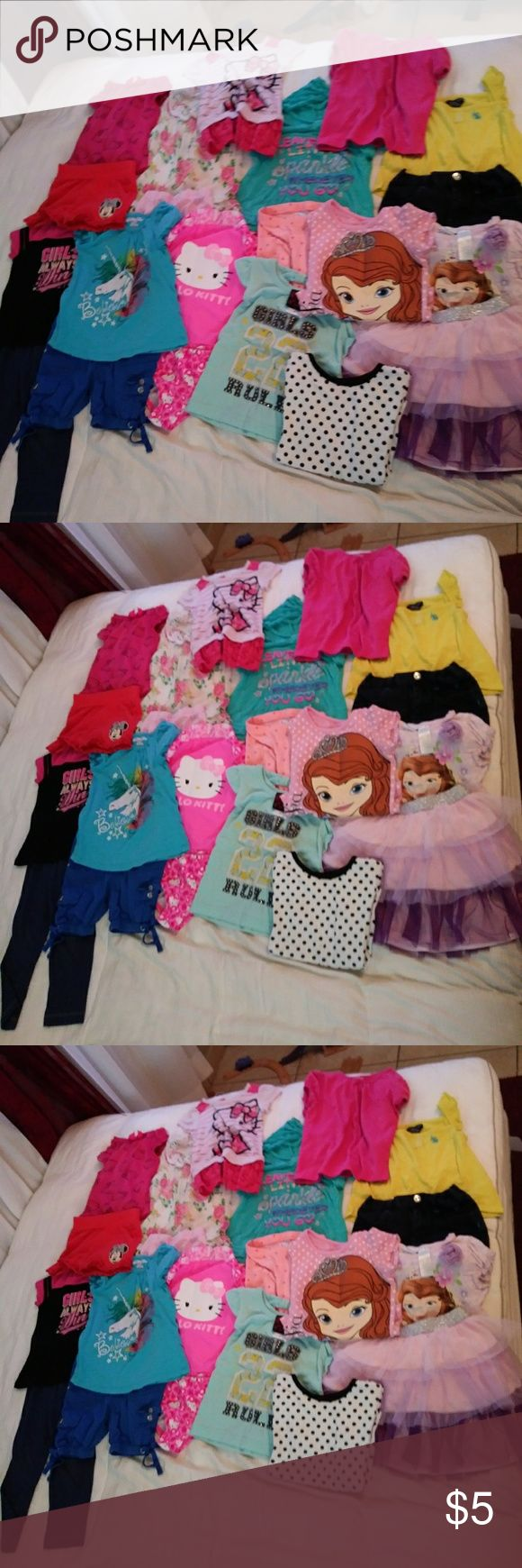 Toddler girls clothes Tops, leggings, skirt,  tankini bathing suit, shorts Buy in groups or individuals Sizes vary from 24 months to 5t Prices vary, ask the items I'll give a price Shirts & Tops