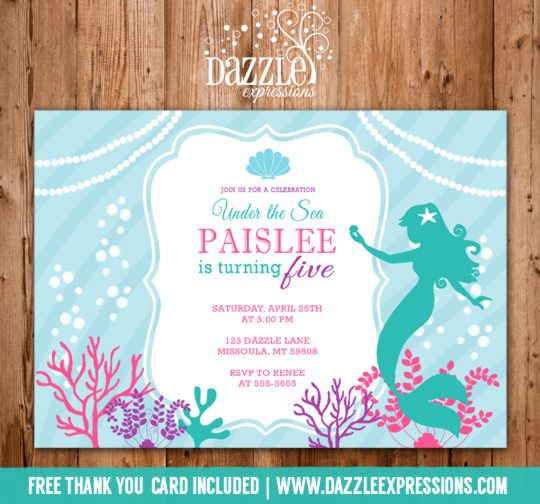 Printable Mermaid Birthday Invitation