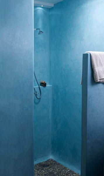 Nice Tadelakt Shower, Blue