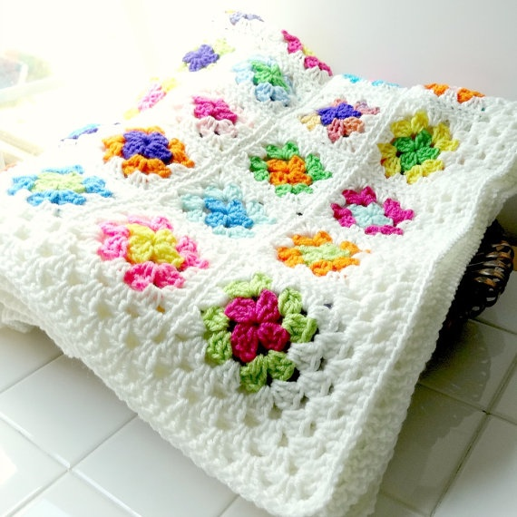 Granny Square Afghan Crochet Blanket Throw by ReneeBrownsDesigns, $92.00