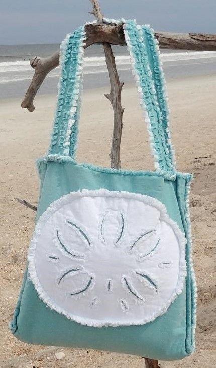 Sea Beach Bag - Sand Dollar White on Caribbean Blue