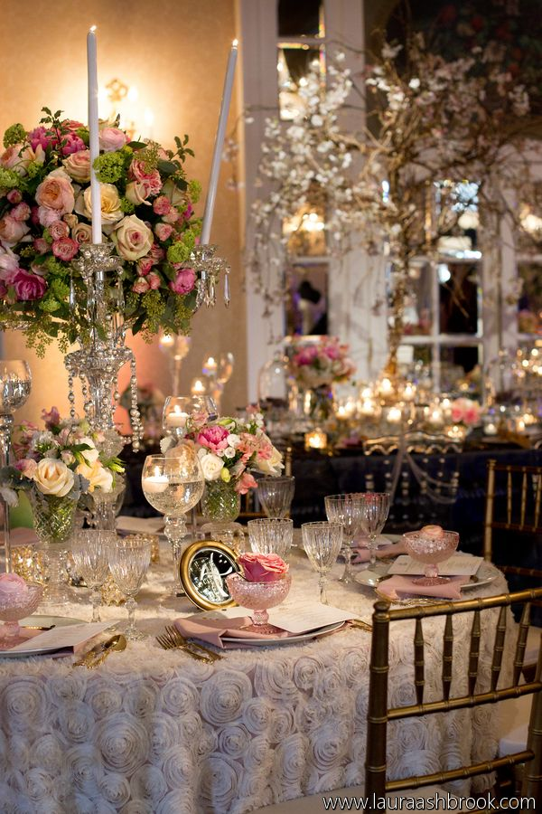 Soft romantic table inspired by Marie Antoinette and Versailles. #wedding #tablescape #eventdecor #rosette #tablecloth  #party #beautifulwedding