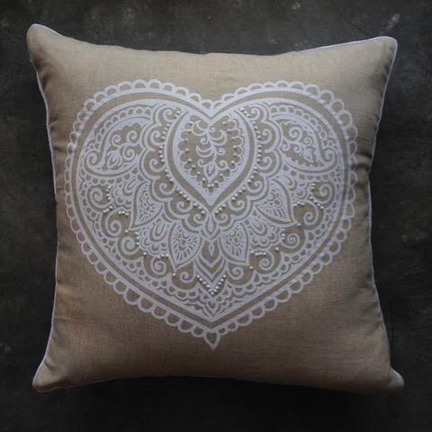 White Mehendi Heart Beaded On Linen