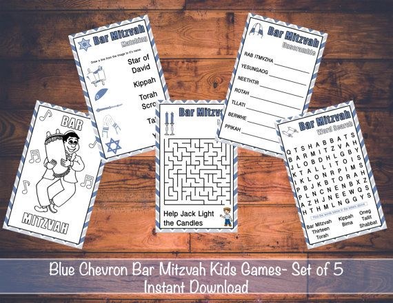 Blue Chevron Bar Mitzvah Printable Games For Kids Instant Download