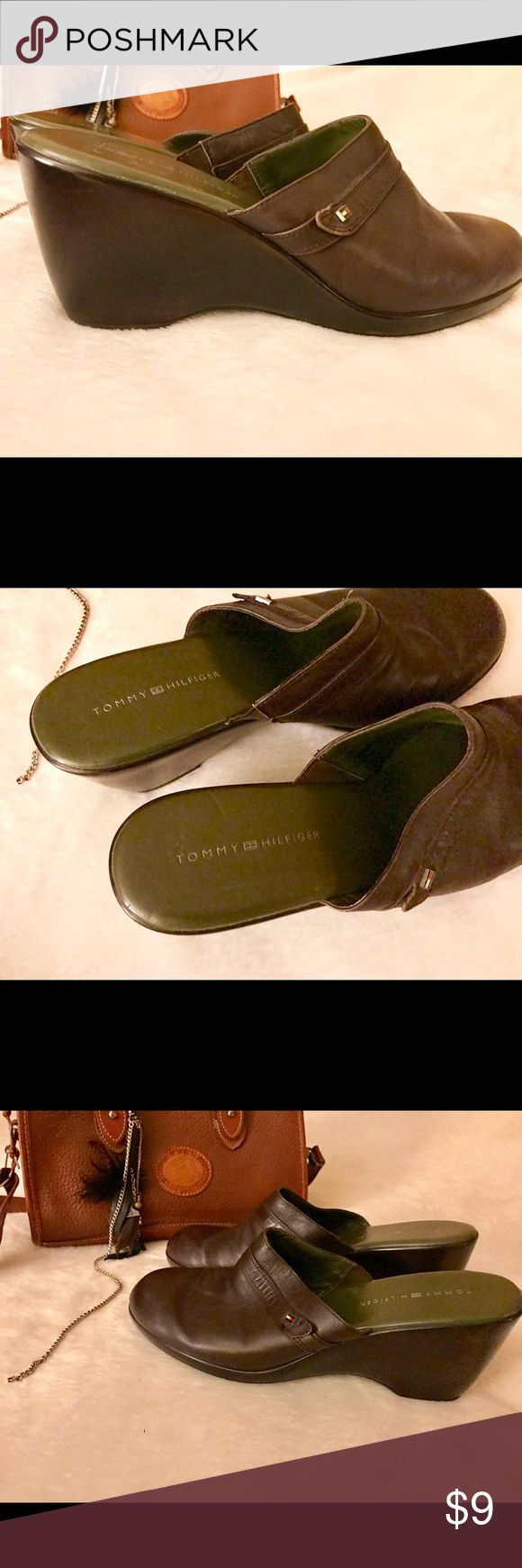 Tommy Hilfiger Gen Leather Clogs Wedges Heels Gen Leather amazing quality Tommy Hilfiger Open backed clogs/ heels. These are VERY comfortable :):):) Years of life left in these shoes!!! Make me an offer! Bundle and save!!! Size 10 markings but fit more like a size9.5 😍❤️😘👌😜👍 Tommy Hilfiger Shoes