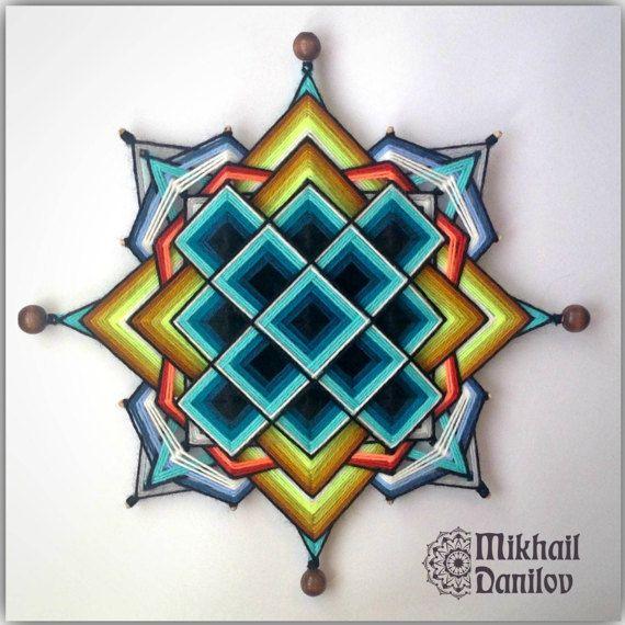 Tissé mandala Pagode fil mandala art tibétain ojo de dios