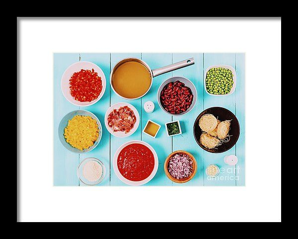 Red And Yellow Capsicum, Onion, Bacon, Vegetable Stock, Ketchup, Beans And Peas And Vermicelli Pasta Food Ingredients For Minestrone Soup Recipe Framed Print