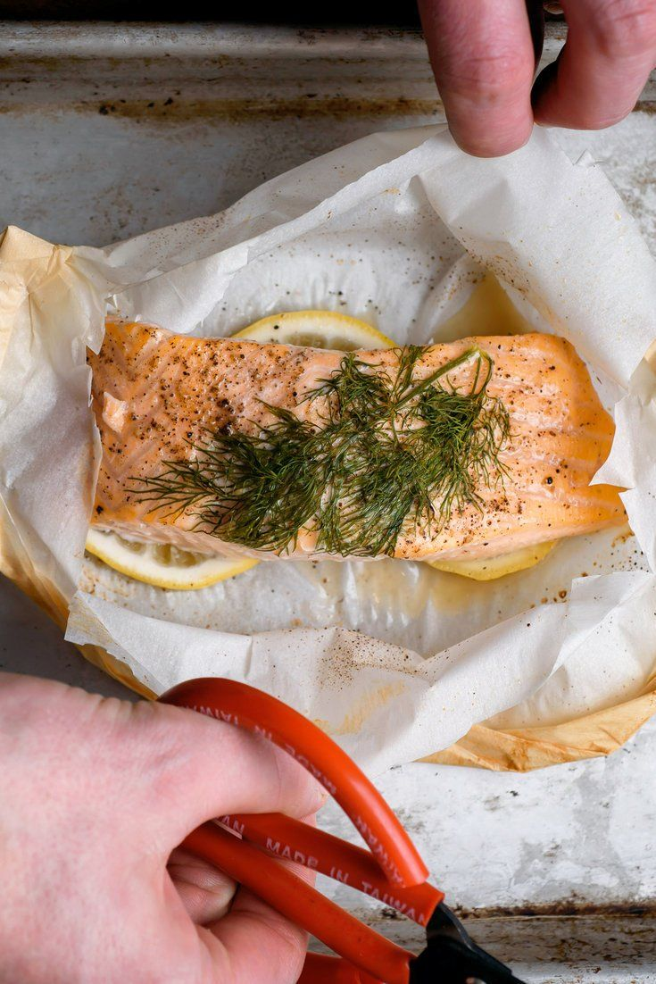 NYT Cooking: Salmon cooked en papillote, which means wrapped in a