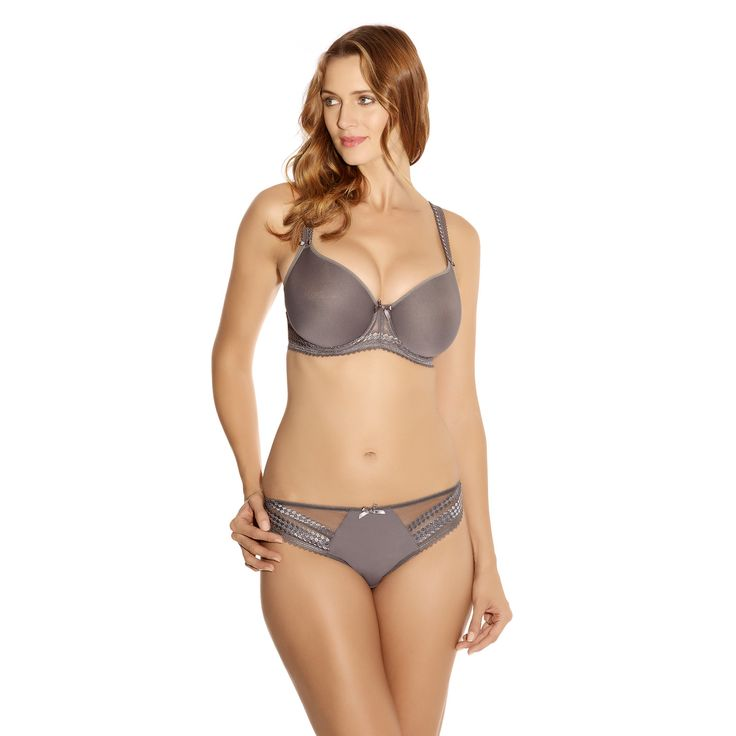Fantasie's bestselling lightweight  spacer moulded collection returns in a sultry pewter shade. Rebecca offers a natural shape and uplift, while geometric embroidery and satin bows complete the look.