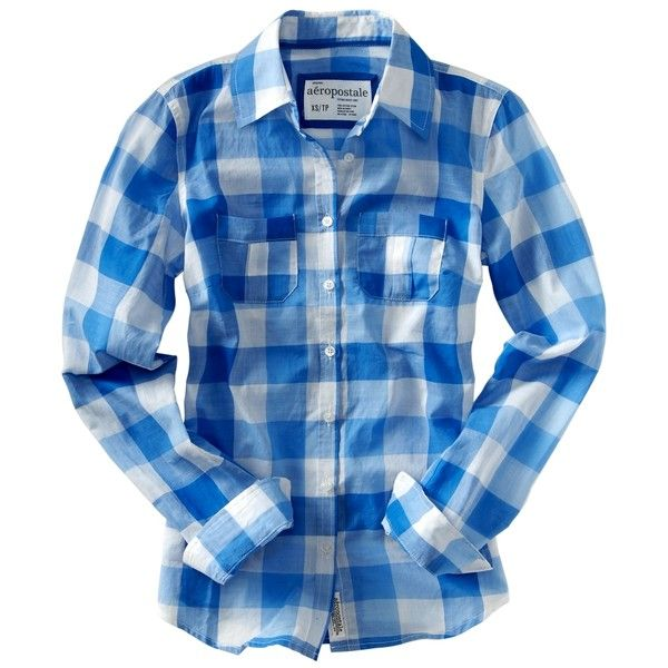 Aeropostale - Long Sleeve Blue Checkered Shirt ($17) ❤ liked on Polyvore featuring tops, shirts, blue, blusas, aeropostale shirts, long-sleeve shirt, blue long sleeve shirt, blue checked shirt and blue checkered shirt