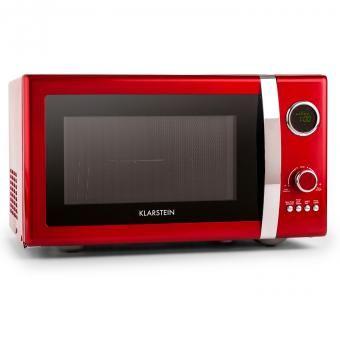 Fine Dinesty 2in1-Mikrowellen-Ofen Retro 23L 800W 12 Programme rot