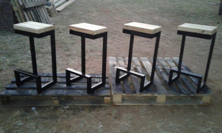 Rectangular tubing bar stools with wooden seats. Handmade by samidecoranddesign@gmail.com . Industrial bar stools. Handmade bar stools. Steel and wood bar stools. Steel furniture. Wooden furniture. #industrial #steel #wood #barstools #decor #interiordesign