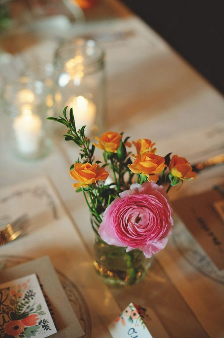 Eclectic mason jar centerpieces // photo by http://www.jmizephotography.com, florals by Freshly Picked