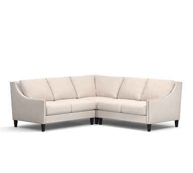 Pasadena Upholstered 3 Piece L Shape Sectional With Corner