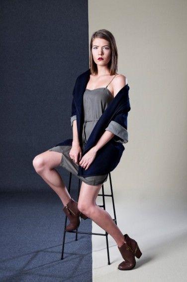 Chain Dress and Asymmetrical Drape Coat