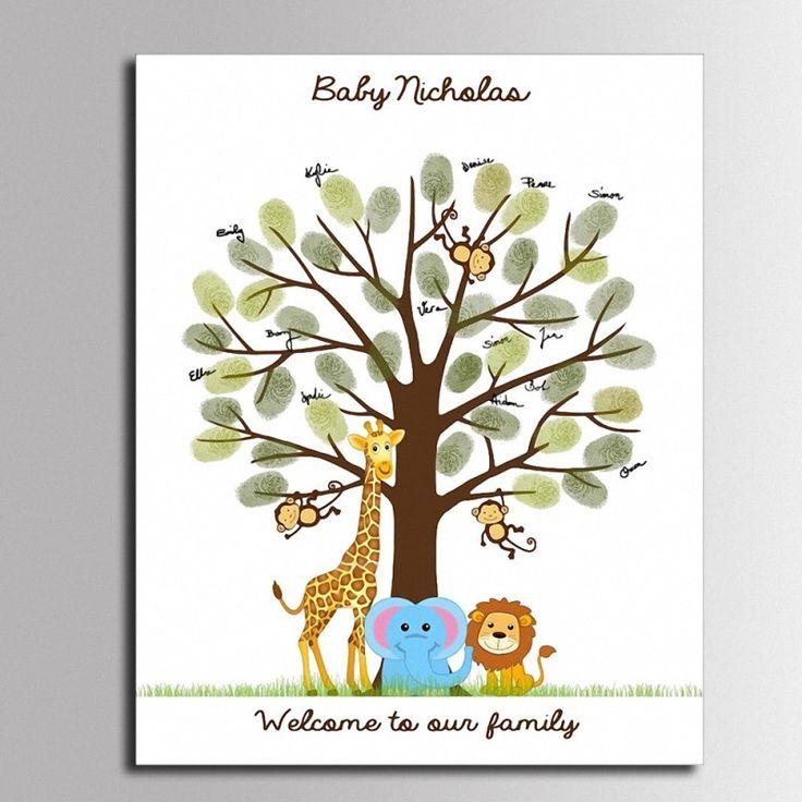 Bébé Douche D'empreintes Digitales Signature Livre d'or Animal de Bande Dessinée Toile Peinture Bébé Douche Comunion Cadeau pour Décorations de Fête dans Event & Party de Maison & Jardin sur AliExpress.com | Alibaba Group