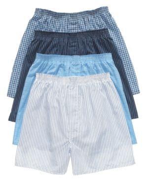 Jockey Men's Underwear, Classic Full Cut Boxer 4 Pack - Blue M